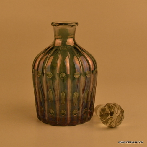 GREEN GLASS PERFUME BOTTLE AND DECANTER, CHOKER REED DIFFUSE,DECORATIVE PERFUME BOTTLE,