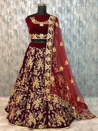 Designer Maroon Colour Work Wedding Lehenga Choli