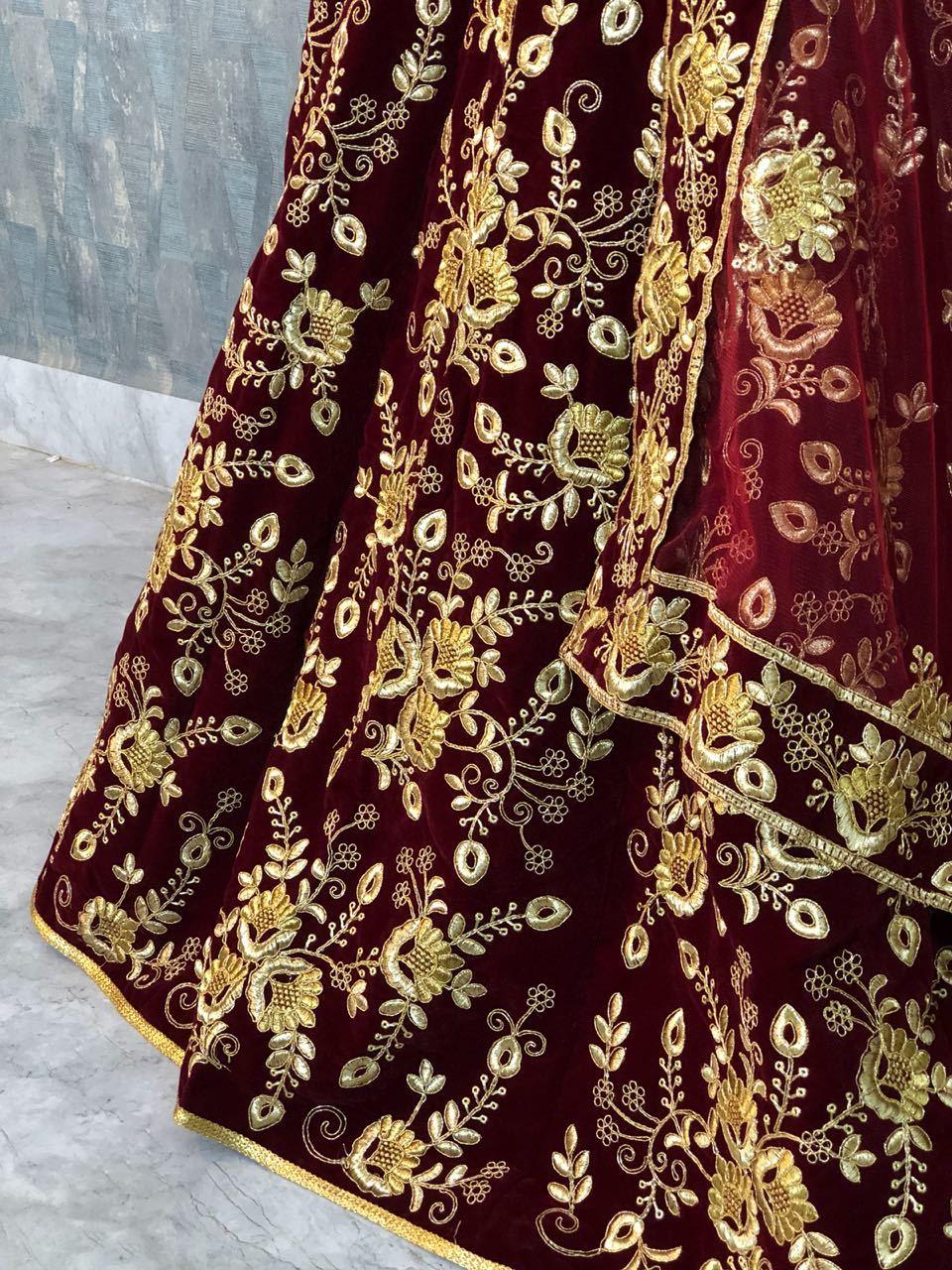 Designer Maroon Colour Work Wedding Lehenga Choli