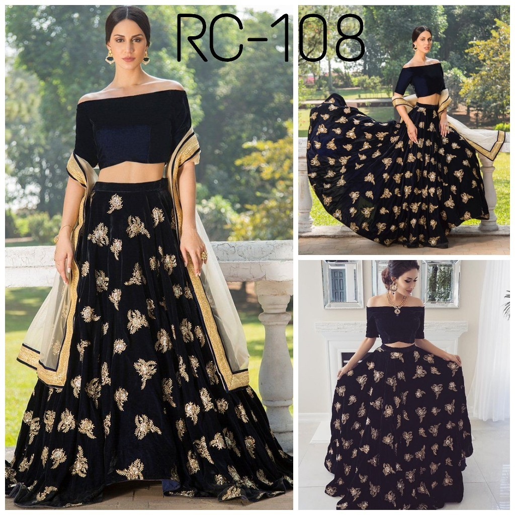 Party WearBlack  Embroidered Lehengas