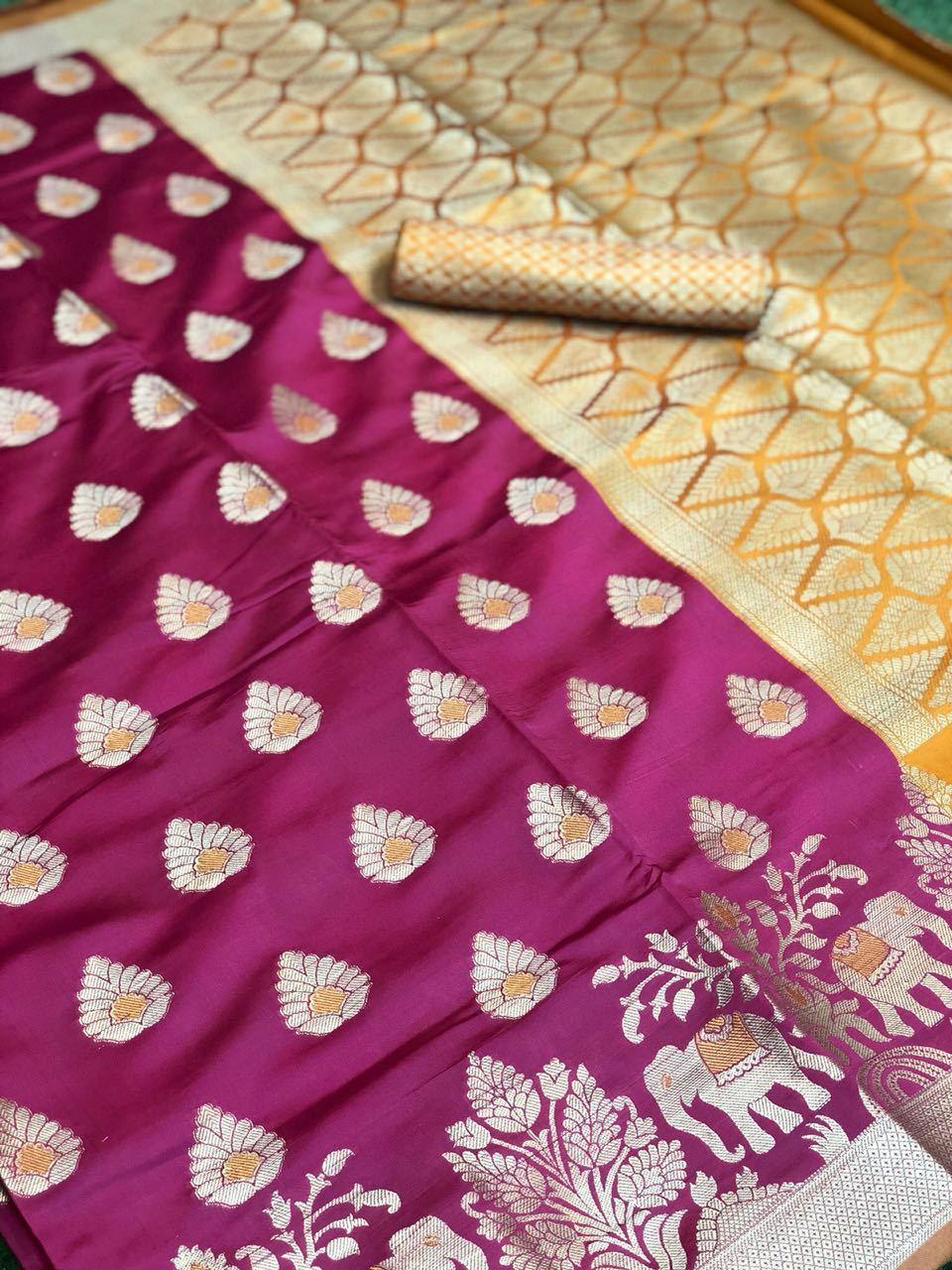 Soft Banarasi Silk Saree With weaving work (DNHSILK13)