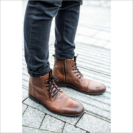 Men's Brown Color Leather Boots