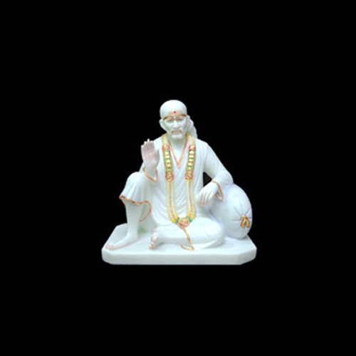 White Marble Sai Baba Sitting Statue