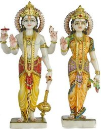 Marble Laxmi Vishnu Statue