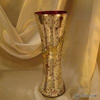 SILVER GLASS FLOWER POT, GLASS CUT DESIGN DECORATIVE FLOWER VASE