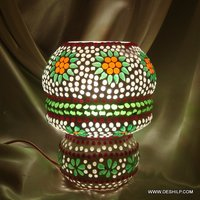 MOSAIC DECORATED GLASS TABLE LAMP, ANTIQUE GLASS SHAPE TABLE LAMP