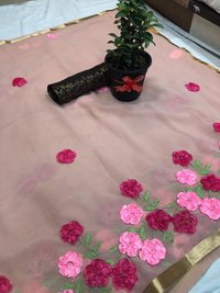 pure Georgette saree with ribbon work with  silk Blouse (DNHSILK15)