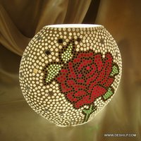 Mosaic Glass Table Lamp, Printed glass Table Lamp Decorated Glass Table lamp