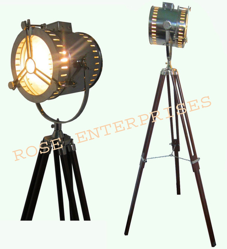 Nautical Designer Floor Lamp Marine Search Spot Light with Tripod Stand