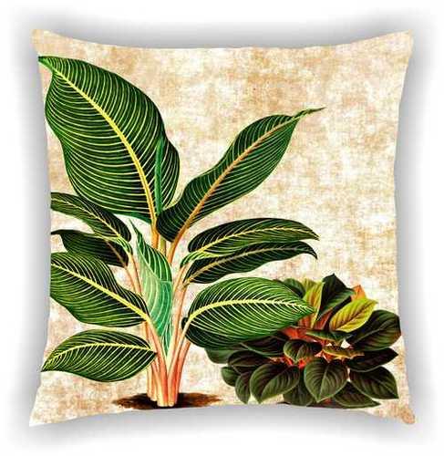 Digital Printed Cream Floral Multi Leaves Design Cushion Cover