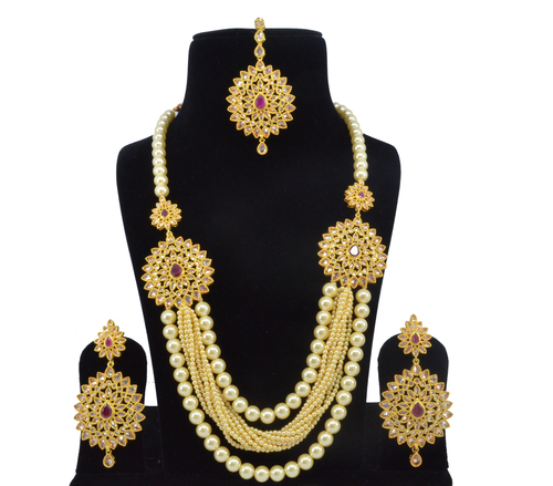 Latest Bollywood Classic Style Antique White Ruby and Pearl Reverse American Diamond AD Necklace Set / Neck Piece / Bridal Set