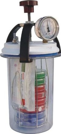 Anaerobic Culture Jar 3.5 Lit, (With Vaccum Cum Pressure Gauge)