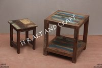 recycled wooden stool set