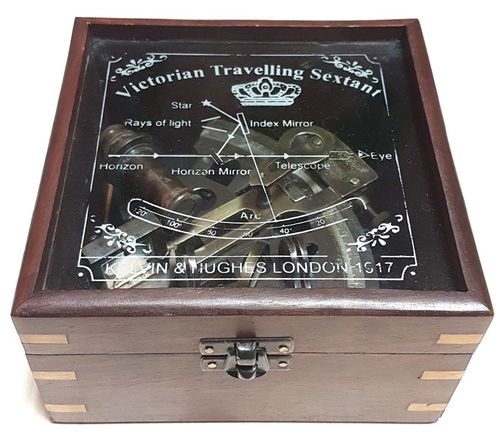 NAUTICAL MARINE 4 INCH ANTIQUE POLISH NAUTICAL SEXTENT WITH WOODEN BOX