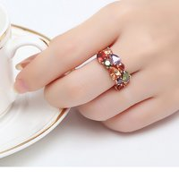 18K Rose Gold Plated Sparkling Ring for Women and Girls