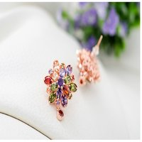 Double Flower Fine Work Swiss Cubic Zircon 18K Gold Plated Earrings