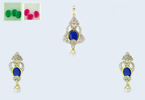 Dazzling Sapphire Pendant Set