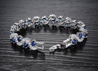 Rich Royal Blue Crystal High Grade CZ Chain Silver Bracelet