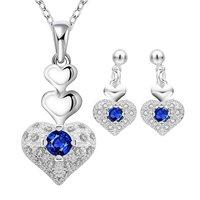 Rich Royal Heart Austrian Crystal Blue Silver Pendant Set