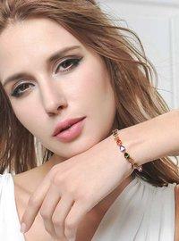 18K Gold Plated Diamond Single Strand Bracelet