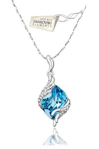 Crystals from Swarovski Angel Guardian Silver Blue Crystal pendant