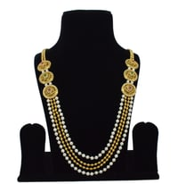 Latest Bollywood Classic Style Antique White Pearl Gold Ruby Sapphire Reverse American Diamond AD Necklace Set / Neck Piece / Bridal Set / Mala