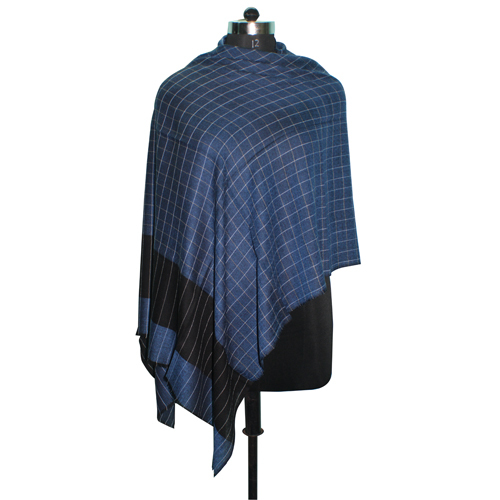 Wool Silk Yarn Dyed Check Scarve