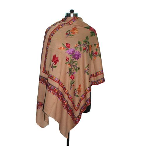 Wool Hand Embroidery Beige Shawl