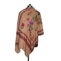 Wool Hand Embroidery Beige Shawl