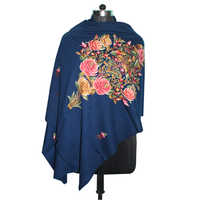 Wool Embroidery Blue Shawl