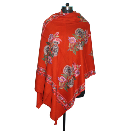 Wool Hand Embroidery Orange Stole