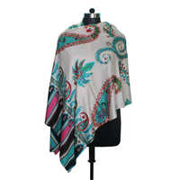 Wool Silk Printed Embroidery Stole