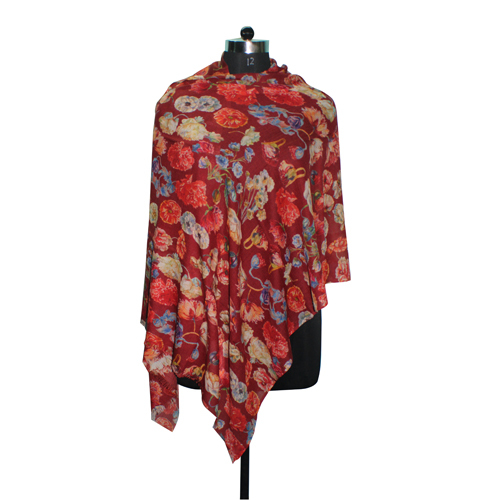 Wool Silk Digital Printed Deep Red Scarf