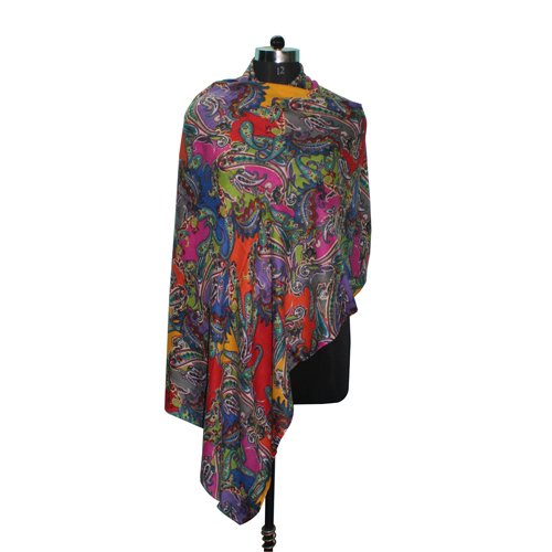 Wool Silk Printed Stole