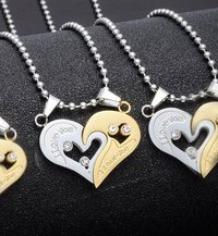 Heart Two Piece Stainless Steel Couple Pendant.Perfect for Couple!