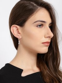 Crystals from Swarovski Drop Down Platinum Plated Crystal Earrings