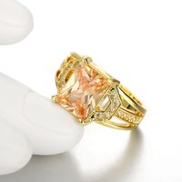 A5 Grade Crystal Sapphire Yellow 18K Gold Plated Crystal Ring
