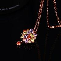 Double Flower Fine Work Swiss Cubic Zircon 18K Rose Gold Plated Pendant