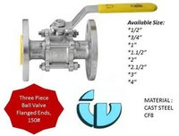 Three Piece Ball Valve Class150 CF8