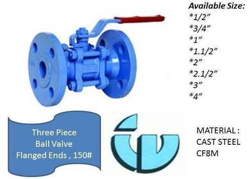 Three Piece Ball Valve Class150 CF8M
