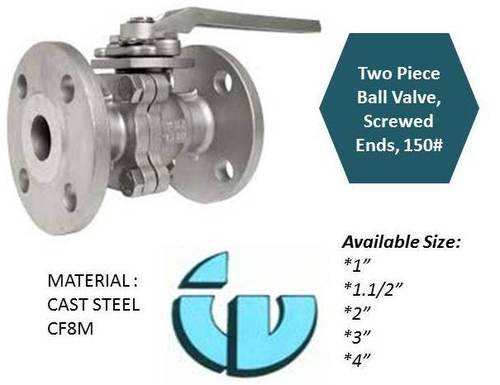 Two Piece ball Valve flanged ends class150 CF8M