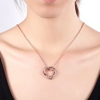 Embracing Hearts-in-Love 18K Real Rose Gold Plated Austrian Crystal Pendant for Girls