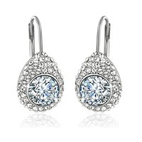 Crystals from Swarovski White Princess Cut Designer Silver Earrings