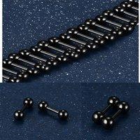 Surgical Steel Black Round Beads Stud Earrings