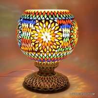 EarthenMetal Handcrafted Traditional Flower Pot Shaped Mosaic Decorated Glass Table Lamp
