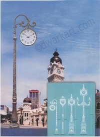 Retro Design Cast Iron Clock Post