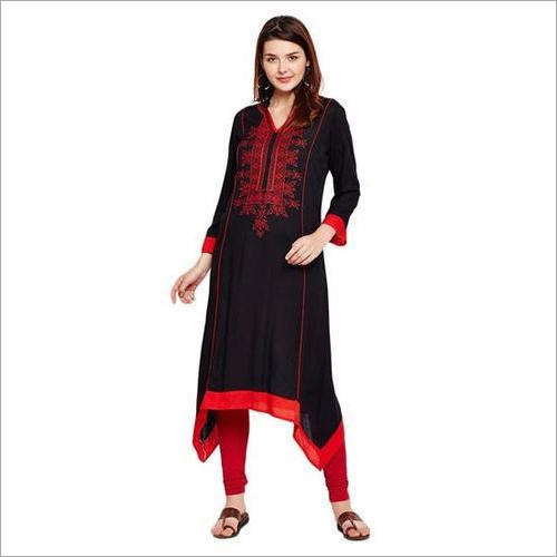 Ladies Black Rayon Long Kurti