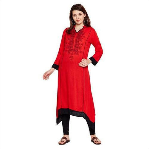 Ladies Red Rayon Long Kurti