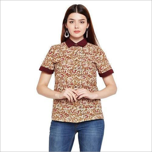 Ladies Beige Buttoned Cotton Top