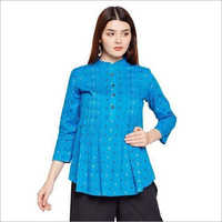 Ladies Blue Cotton Top